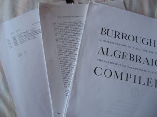 Burroughs Algebraic Compiler ALGOL 205. Three (3) xeroxed typescript manuals 1961 (apparently...