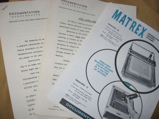 3 items -- Matrex Tematrex 40 and Termatrex 15, sales brochure, Specifications sheets, Alpha...