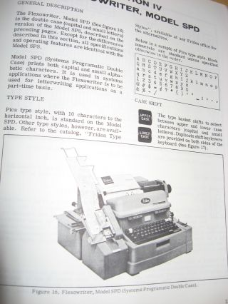 Flexowriter automatic writing machine Programatic Model, manual with specifications, operating features etc