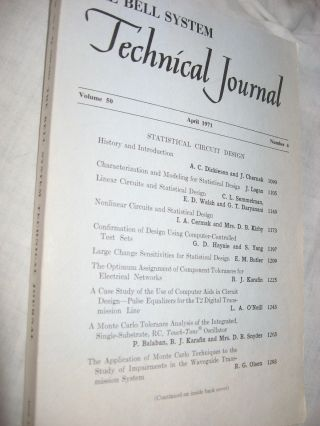 The Bell System Technical Journal, volume 50 no. 4, April 1971. var The Bell System Technical...