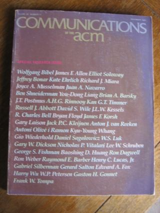Communications of the ACM, Special Research Issue, November 1983; volume 26 number 11. ACM var....
