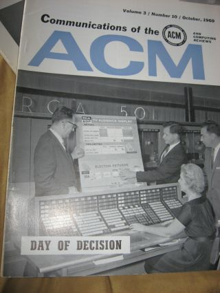Communications of the ACM, 1960, various individual issues, 9 issues monthly see list; volume 3 1960