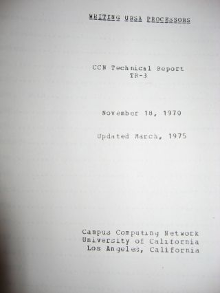 5 manuals from Campus Computing Network UCLA (see list below) including technical report, programmer's guide etc.