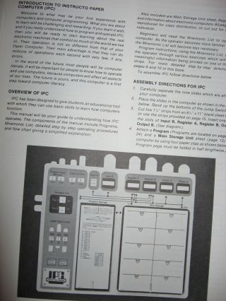 Instructo Paper Computer, IPC, Operator's Manual plus cut-outs, A Real Programmable Paper Computer 1979