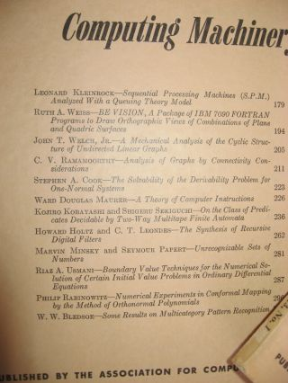 Journal of the Association for Computing Machinery, 4 individual issues, January 1966, April 1966, July 1966, October 1966; whole volume 13, numbers 1 through 4